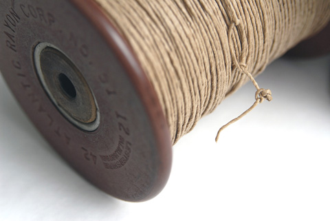 PaperPhine&#039;s Strong Natural Paper Yarn on a Vintage Bobbin