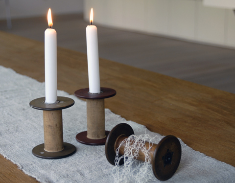 Cardboard Candle Holders Bobbins as Candle Holders