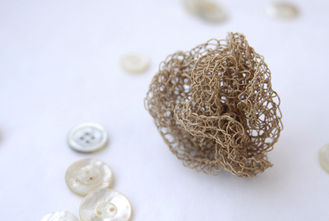 Made by PaperPhine: Fine Natural Paper Yarn Brooch