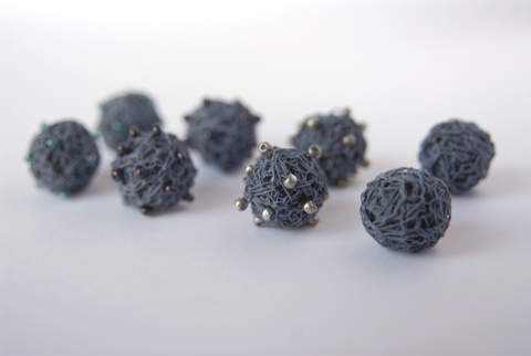 Made by PaperPhine: BlueGray Paper Yarn Beads