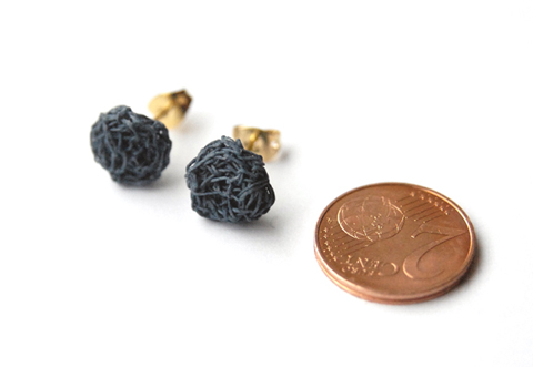 Small Custom-Made Earrings made of Paper Yarn
