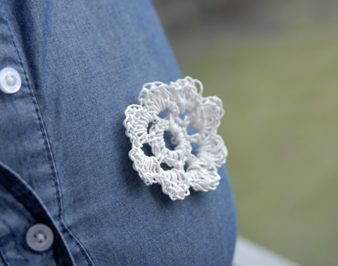 PaperPhine's Crocheted White Paper Yarn Flower made of Paper Yarn