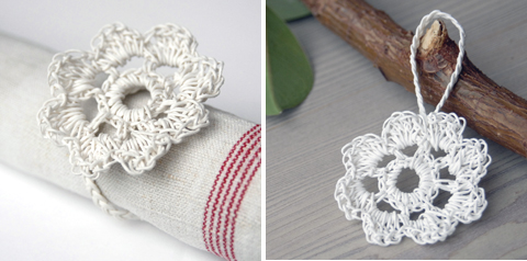 White Paper Twine Flower crocheted using PaperPhine's Paper Twine