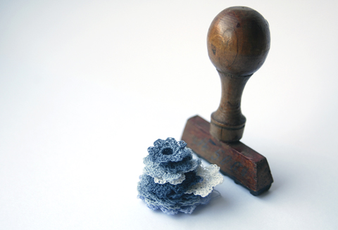 PaperPhine's Blue Small Crocheted PaperYarn Flowers