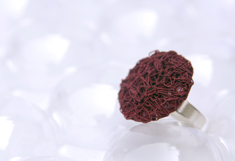 PaperPhine&#039;s Red Button Ring made of Finest Paper Yarn