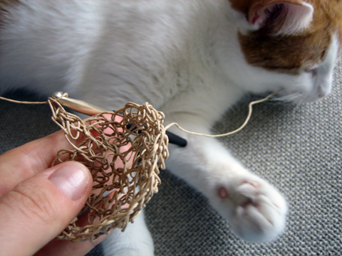 Barbara&#039;s Bag made of Paper Twine - with Cat