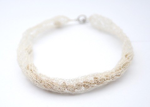 White Knitted Paper Yarn Necklace by refinedbyruth