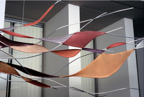 Tia Kramer Installation with handmade paper: suspended flight