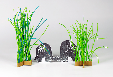 Made by PaperPhine: Elephant in Paper Twine Grass and Paper Twine House