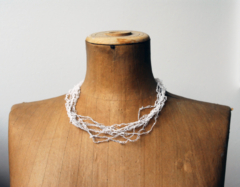 Made by PaperPhine: White Crochet Paper Yarn Necklace made of Paper Yarn