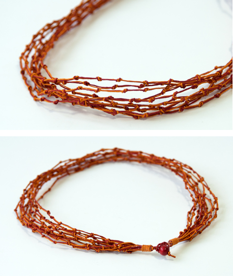 Made by PaperPhine: KNOT Necklace Prototype made of PaperString