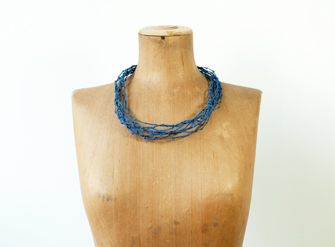 Made by PaperPhine: Blue Knotted Paper Twine Necklace
