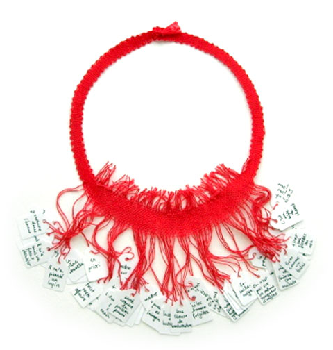 Florence Jaquet Necklace: Perles insolites 2007 Price tags, cotton 47 cm