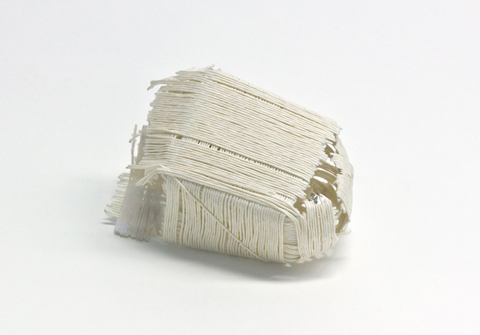 peng brooch by Sophie Baumgärten made of PaperPhine's paper cord, tissue paper and stainless steel pins