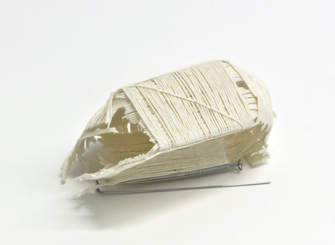 peng brooch by Sophie Baumgrten made of PaperPhine&#039;s paper cord, tissue paper and stainless steel pins