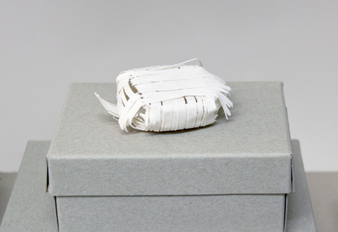 peng brooch by Sophie Baumgrten made of PaperPhine&#039;s paper twine, tissue paper and a stainless steel brooch pin