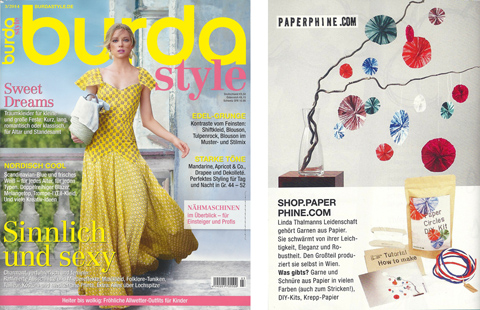 PaperPhine in Print: burda style 03 / 2014 - PaperPhine in Media, Printed Media, DIY kit
