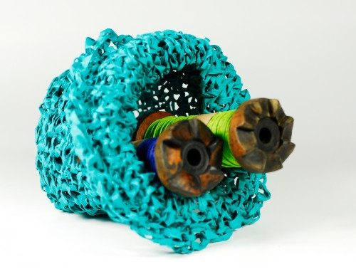 PaperPhine: Small Knit Basket made of Paper Raffia
