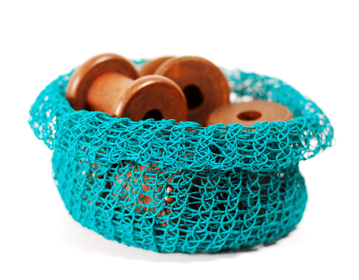 PaperPhine: Knit Paper Twine Basket made with PaperPhine's Knit Basket DIY Kit