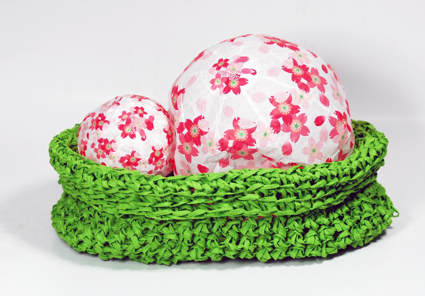 PaperPhine: Green Crochet Paper Raffia Basket