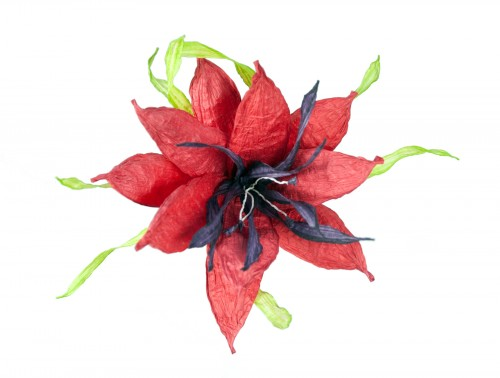 Paper Flower in Red - Deep Red and Aubergine