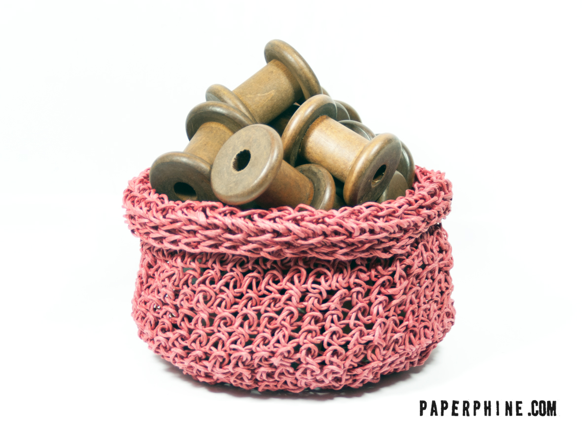 PaperPhine: Red Crochet Basket